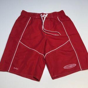 MAO Mens Small Red Lifeguard Board Shorts